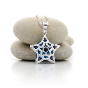 Colgante estrella de plata con ojo turco
