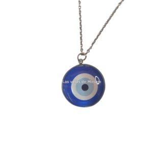 Colgante ojo turco azul en acero inoxidable